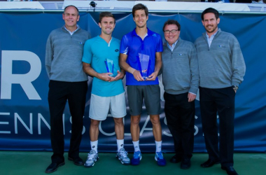 Brent Haygarth (left), Tim Smyczek, Aljaz Bedene, Vince Menard, Zoltan Papp after the 2015 final/Photo: Tessa Kolodny-Moodswings Photography
