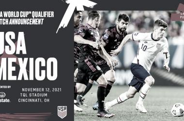Cartel oficial del partido clasificatorio ante México del 12 de noviembre de 2021 camino a Qatar 2022 | Fotografía: U.S.Soccer