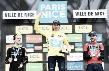 Marc Soler en el podio junto a Simon Yates y Gorka Izaguirre, segundo y tercero respectivamente | Foto: París Niza
