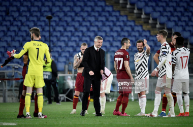 <div>FBL-EUR-C3-ROMA-MAN UTD</div><div>Manchester United's Norwegian coach Ole Gunnar Solskjaer (C) reatcs at the end of the UEFA Europa League semi-final second leg football match between AS Roma and Manchester United at the Olympic Stadium in Rome, on May 6, 2021. (Photo by Filippo MONTEFORTE / AFP) (Photo by FILIPPO MONTEFORTE/AFP via Getty Images)</div>