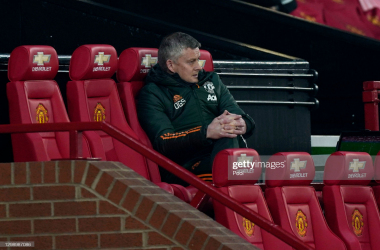 <div>Manchester United v Sheffield United - Premier League</div><div>MANCHESTER, ENGLAND - JANUARY 27: Ole Gunnar Solskjaer, Manager of Manchester United looks on during the Premier League match between Manchester United and Sheffield United at Old Trafford on January 27, 2021 in Manchester, England. Sporting stadiums around the UK remain under strict restrictions due to the Coronavirus Pandemic as Government social distancing laws prohibit fans inside venues resulting in games being played behind closed doors. (Photo by Tim Keeton -</div>
