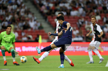 Son Heung-Min of Tottenham Hotspur shoots at goal during the International Champions Cup match between Juventus and Tottenham Hotspur at the Singapore National Stadium on July 21, 2019 in Singapore. (Photo by Tottenham Hotspur FC/Tottenham Hotspur FC via Getty Images)
