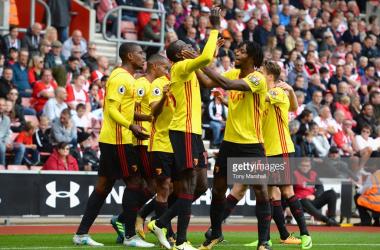 Watford celebrate scoring at St Mary's last season | Photo via Getty Images/ Tony Marshall