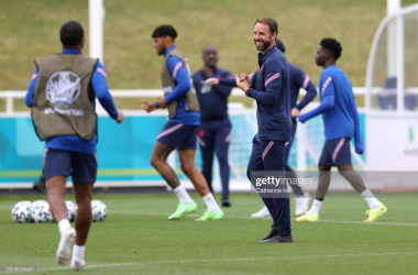 Gareth Southgate, Manager of England reacts during the England Training Session at St George's Park on June 17, 2021, in Burton upon Trent, England. (Photo by Catherine Ivill/Getty Images)