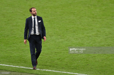 LONDON, ENGLAND - JULY 07: Gareth Southgate, Head Coach of England looks on following the UEFA Euro 2020 Championship Semi-final match between England and Denmark at Wembley Stadium on July 07, 2021 in London, England. (Photo by Justin Tallis - Pool/Getty Images)