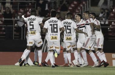 Comemoração do segundo gol do São Paulo contra a Chapecoense (Foto: Twitter/São Paulo)