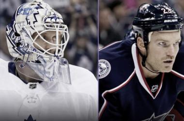 Sparks y Clarkson en su etapa en los Leafs y CBJ respectivamente | Foto: Getty Images