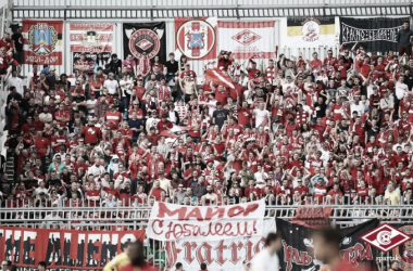 Los aficionados del Spartak de Moscú durante un partido. | Foto: Spartak de Moscú.