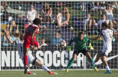 Francisca Ortega with a clear shot on the Portland goal on Saturday, June 24, 2017. Photo: Washington Spirit Twitter @WashSpirit