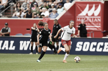 Ashley Hatch (right) and Danny Colaprico (left) at Toyota Park in Bridgeview, IL on July 1, 2018 | Photo: Washington Spirit