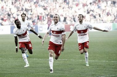 Glushakov festejando su tanto del triunfo. | Foto: Spartak.