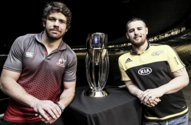 Captains Warren Whiteley and Dane Coles pose with the trophy ahead of Saturday's final (image via: skysports)