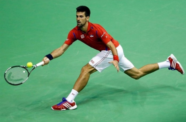 Novak Djokovic runs down a shot during his match on Sunday/Photo: Srdjan Stevanovic