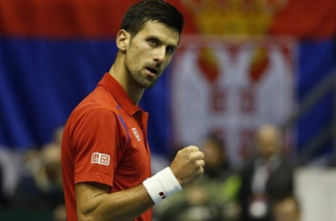 Novak Djokovic during Friday's opening singles rubber/Photo: Srdjan Stevanovic