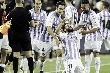 Verde celebra el gol del empate frente al RCD Español/ Real Valladolid