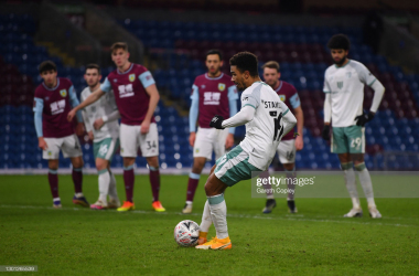<div>BURNLEY, ENGLAND - FEBRUARY 09: Junior Stanislas of AFC Bournemouth scores their team's second goal from the penalty spot during The Emirates FA Cup Fifth Round match between Burnley and AFC Bournemouth at Turf Moor on February 09, 2021 in Burnley, England. Sporting stadiums around the UK remain under strict restrictions due to the Coronavirus Pandemic as Government social distancing laws prohibit fans inside venues resulting in games being played behind closed doors. (Photo by Gareth Copley/Getty Images)</div><div><br></div>