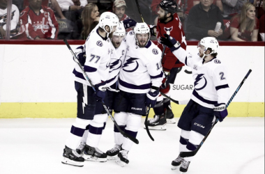 Steven Stamkos celebrates his opening goal against the Washington Capitals. | Photo: NHL Public Relations on Twitter