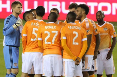 The Houston Dynamo huddle before their Home Opener 2015 v Columbus Crew SC. Photo by Nigel Brooks