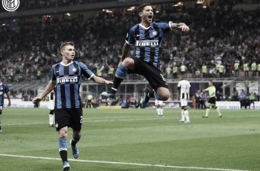 Sensi celebra su gol ante el Udinese, tanto que significó los tres puntos para el Neroazurro / Foto: Twitter oficial Inter de Milán en español