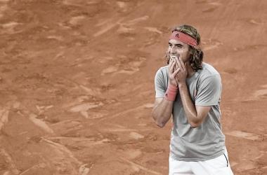 Stefanos Tsitsipas tras lograr la victoria ante Rafa Nadal en Madrid. Foto: gettyimages.es