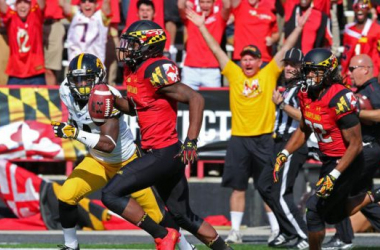 Stefon Diggs had 9 catches for 130 yards for Maryland (Mitch Stringer / USA Today Sports)