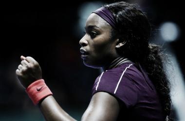 Sloane Stephens celebra un punto durante un partido en las WTA Finals 2018. Foto: zimbio.com