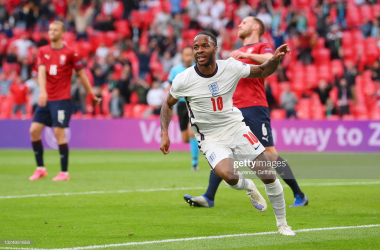 <div>Czech Republic v England - UEFA Euro 2020: Group D</div><div>LONDON, ENGLAND - JUNE 22: Raheem Sterling of England celebrates after scoring their team's first goal during the UEFA Euro 2020 Championship Group D match between Czech Republic and England at Wembley Stadium on June 22, 2021 in London, England. (Photo by Laurence Griffiths/Getty Images)</div>