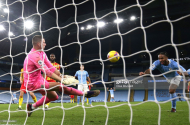 <div>MANCHESTER, ENGLAND - DECEMBER 15: Sam Johnstone of West Bromwich Albion saves a headed shot from Raheem Sterling of Manchester City during the Premier League match between Manchester City and West Bromwich Albion at Etihad Stadium on December 15, 2020 in Manchester, England. The match will be played without fans, behind closed doors as a Covid-19 precaution. (Photo by Clive Brunskill/Getty Images)</div>