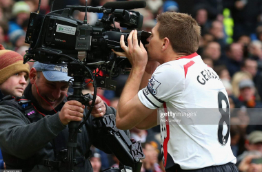 MANCHESTER, ENGLAND - MARCH 16: Steven Gerrard of Liverpool celebrates scoring the second goal by kissing the steadicam during the Barclays Premier League match between Manchester United and Liverpool at Old Trafford on March 16, 2014 in Manchester, England. (Photo by Alex Livesey/Getty Images)