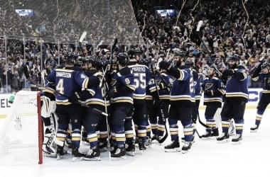 Los St. Louis Blues celebrando el pase a la final | Foto: St. Louis Blues