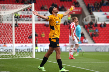 Raul Jimenez celebrates his equalising goal- his first since returning from a fractured skull.(Photo by Alex Pantling/Getty Images)