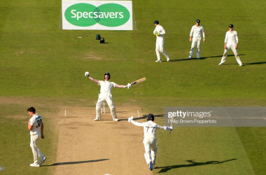 Ben Stokes celebrates as he hits the winning runs for England