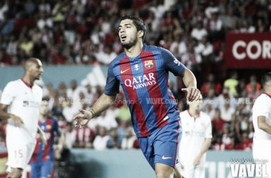 Luis Suárez en la Supercopa de España contra el Sevilla FC. Foto: VAVEL