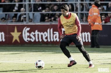 Luis Suárez en el entrenamiento a puertas abiertas. Foto: Gerard Franco, VAVEL