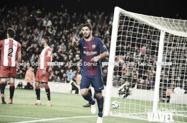 Suárez foi às redes no atropelo por 6 a 1 sobre o Girona (Foto: Noelia Déniz/VAVEL)
