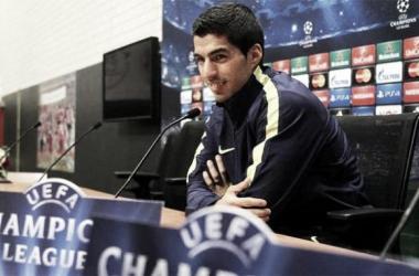 Luis Suárez en rueda de prensa. (Imagen: SPORT)