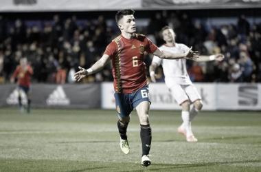Manuel García celebra el gol ante Macedonia/Foto: @SeFutbol