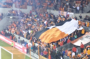 Houston Dynamo supporters celebrate a 2nd half goal against Columbus Crew SC, First Kick 2015. Photo by the Author