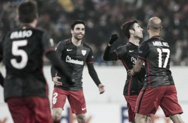 Markel Susaeta celebra su gol número 50 de rojiblanco. | Foto: Athletic,