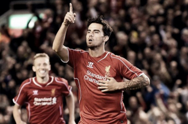 Suso celebrating a goal against Middlesbrough earlier this season.