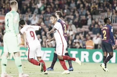 Luis Muriel tras anotar el 4-2 | Foto: Sevilla FC