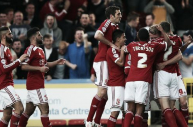 Swindon Town players celebrate one of their five goals on a thrilling night at the County Ground. (Picture: BBC Sport)