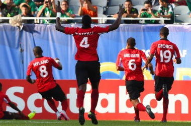 The Soca Warriors are celebrating after qualify to the quarterfinals after beating Cuba 2-0 on Sunday at The University of Phoenix Stadium / Mike DiNovo - USA TODAY Sports