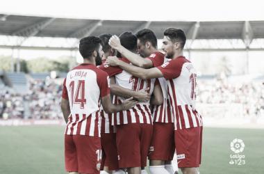 La plantilla celebra uno de los goles consechados en Reus | Fuente: La Liga