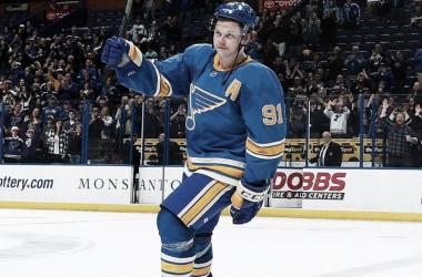 Vladimir Tarasenko en el uniforme de los Saint Louis Blues | Foto: NHL.com