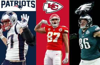 Rob Gronkowski, Travis Kelce and Zach Ertz
