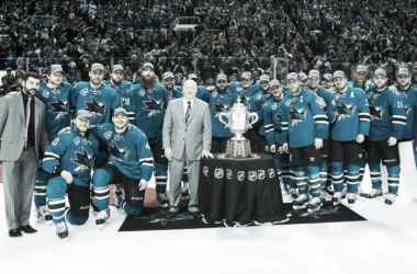 The San Jose Sharks won their first Clarence Campbell Trophy to capture the Western Conference Championship. Kelley L Cox - USA TODAY Sports