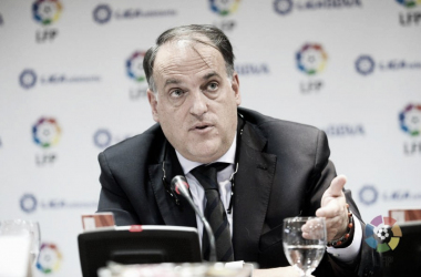 El presidente de LaLiga Tebas en rueda de prensa   Foto: LaLiga