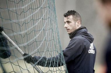 Tejera, durante un entrenamiento | Imagen: Real Oviedo