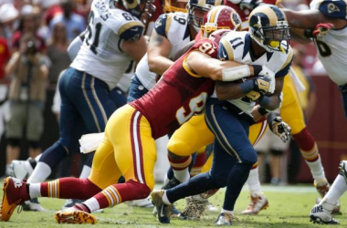Redskins DE Ryan Kerrigan tackles Rams WR Tavon Austin. Photo via stlouisrams.com
